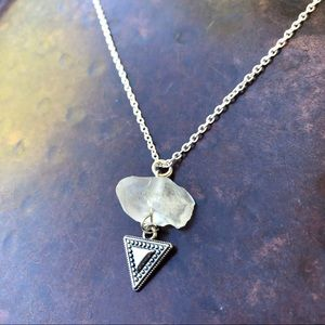 Quartz Crystal and Tribal Triangle Necklace